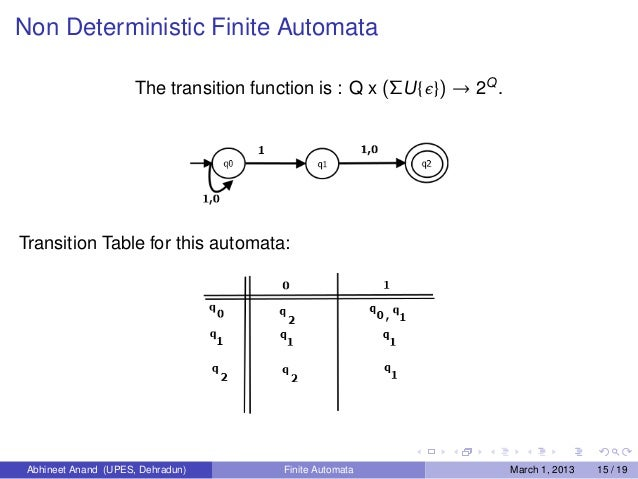 transition function of nfa example