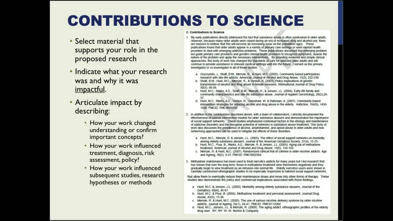 nih biosketch contributions to science example