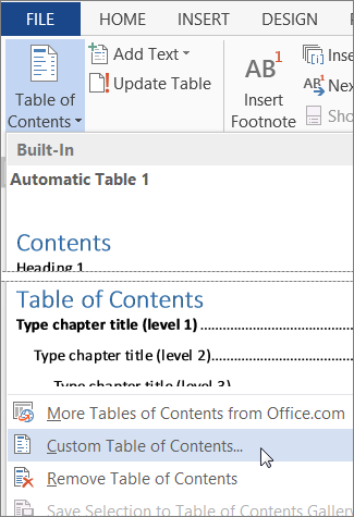 table of contents in word example