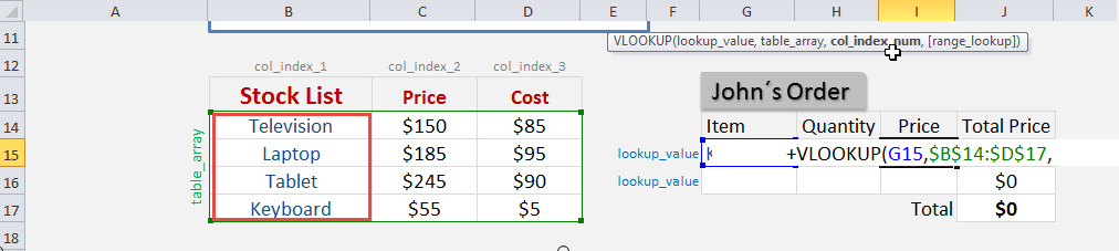 example of look up data excel
