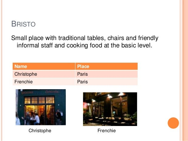 accommodation and food services example