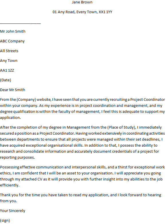 example of cover letter for project coordinator