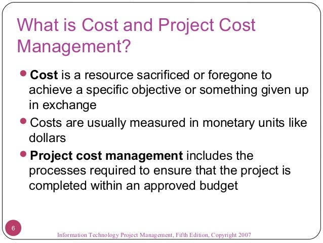cost baseline project management example