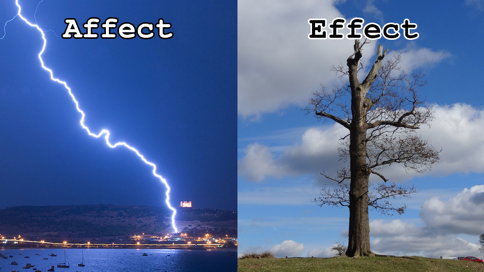 difference between affect and effect example sentences