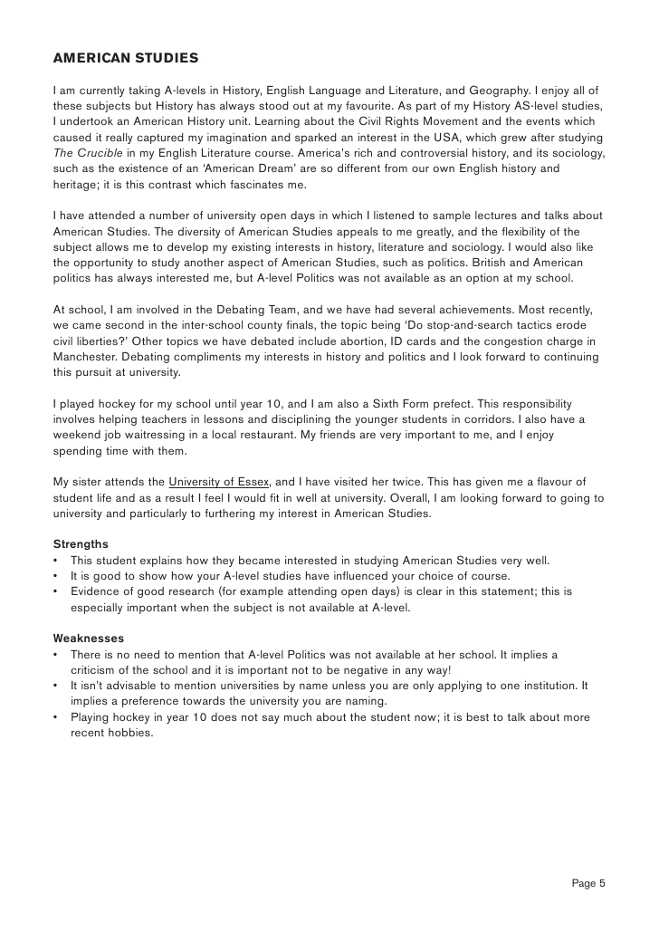 example of a personal statement for university application liberal arts