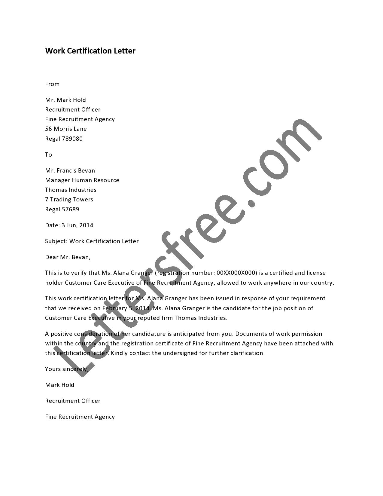 example of certificate of employment letter