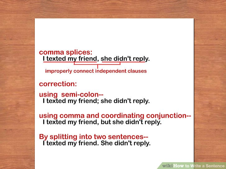 example of run on sentence and comma splices