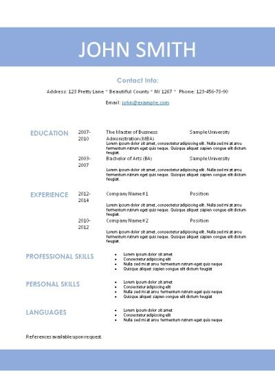 free printable example of a resume