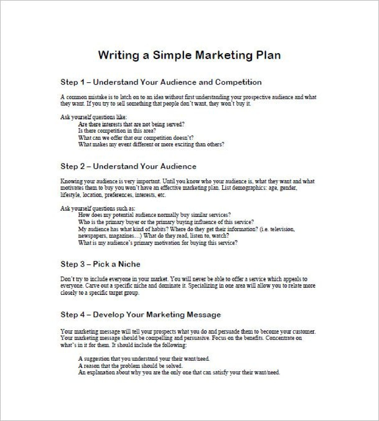 marketing plan for yourself example