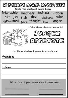 meaning of abstract noun and example