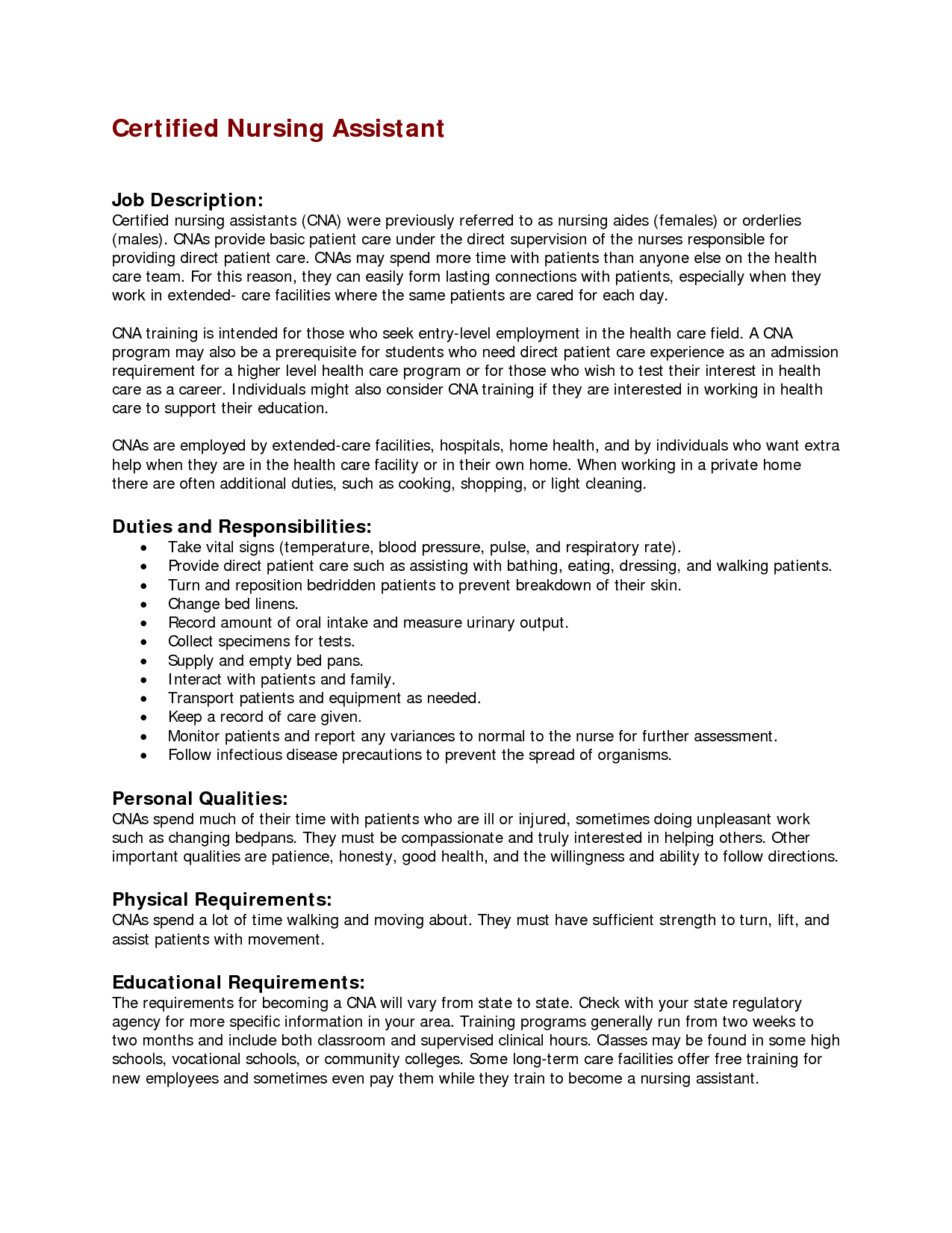 professional nursing assistant resume example