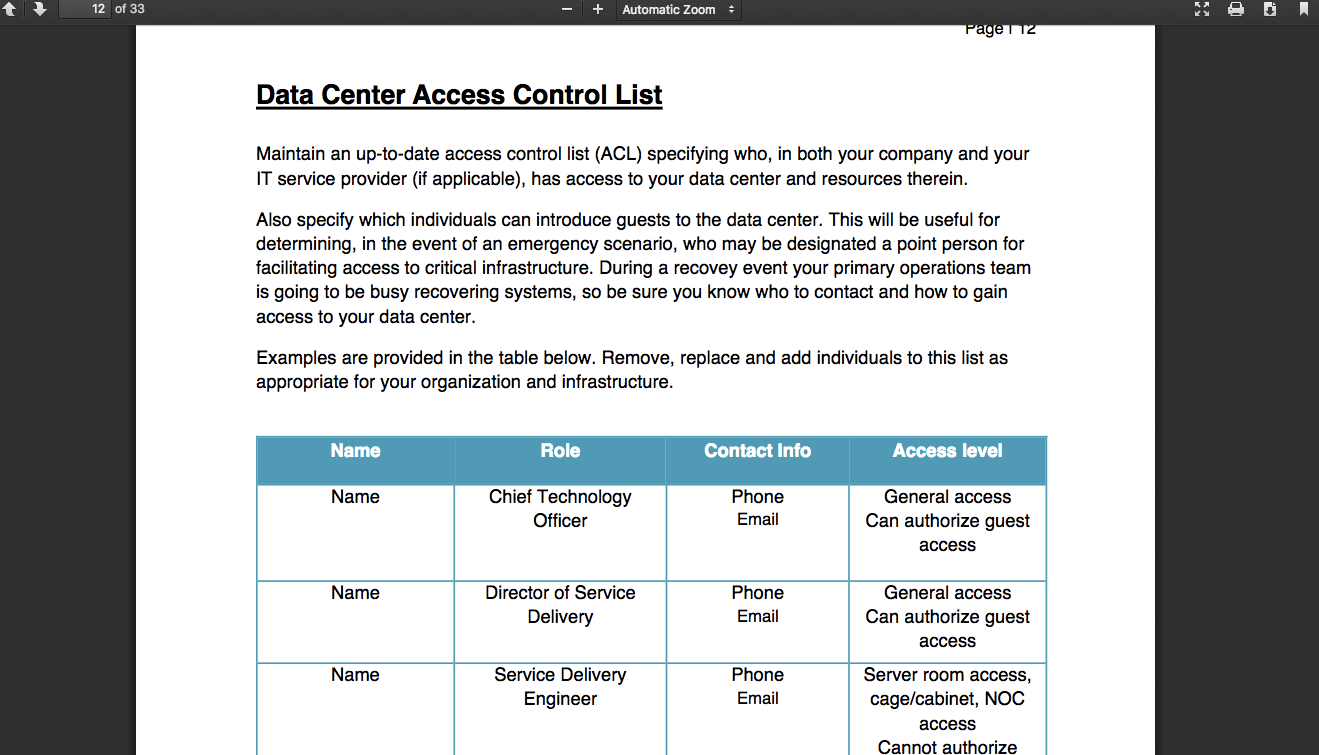 user access and rights review document example